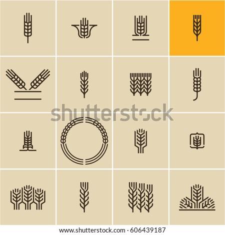 Agriculture wheat set. Farming. Windmill, ears of wheat, field harvester, farmer, Isolated vector il Stock photo © kyryloff