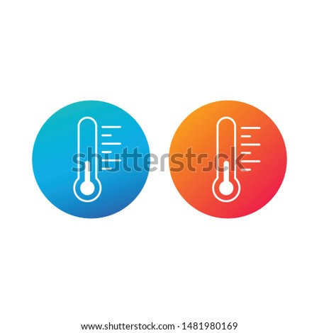 Thermometr in circle, hot and cold concept weather sign. Meteorology indicator. for websites and mob Stock photo © kyryloff