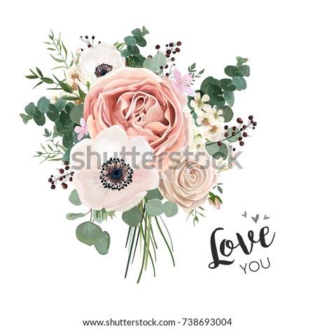 Rosa papoula flores buquê vetor aquarela Foto stock © frimufilms