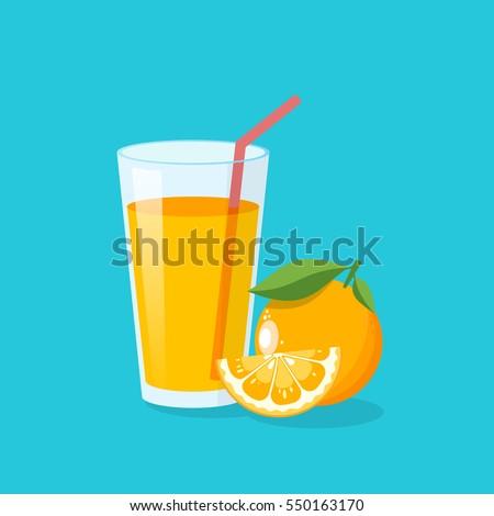 Stockfoto: Glas · vers · sinaasappelsap · drinken · stro · voedsel