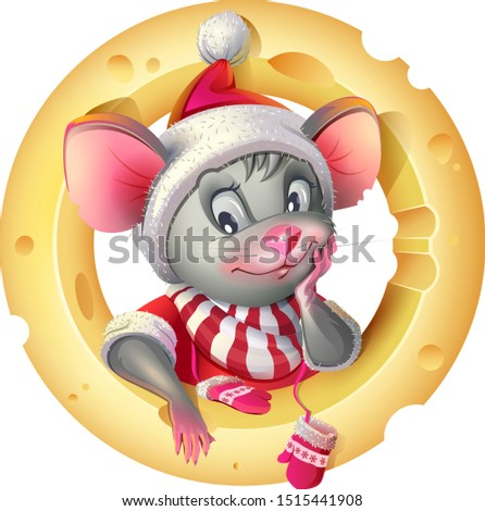 Cute mouse in santa costume posing on background of cheese. Rat mouse symbol of 2020 Stock photo © orensila