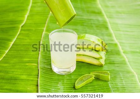 aloe vera pieces on the background of banana leaf organic cosmetics concept stock photo © galitskaya