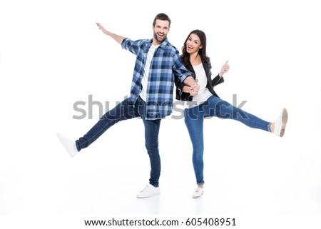 Front widoku szczęśliwy trzymając się za ręce Zdjęcia stock © wavebreak_media
