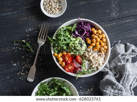 vegan · buda · tigela · legumes · arroz · coco - foto stock © furmanphoto