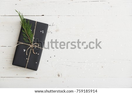 Christmas festive black gift boxes with green ribbon on velours glitte Stock photo © Illia