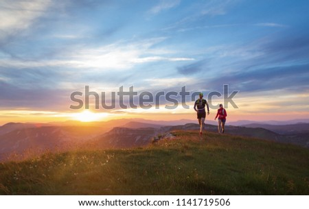 fut · emberek · sportolók · sziluett · nyom · hegy - stock fotó © maridav