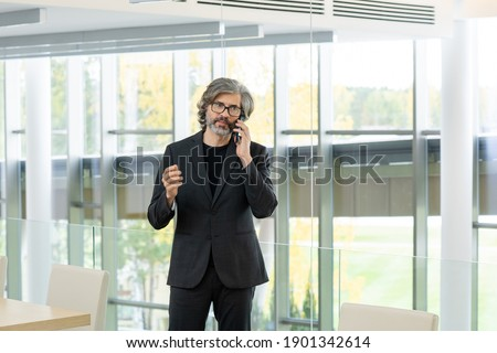 Mature businessman in formalwear and eyeglasses talking by mobile phone Stock photo © pressmaster