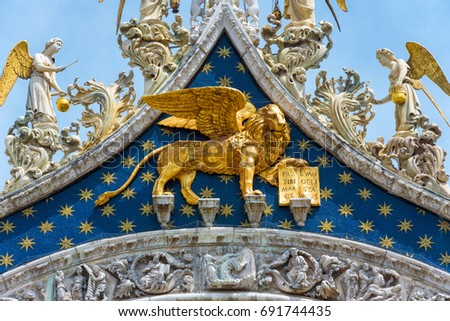 Golden lion on the top of St Mark's Basilica (San Marco) in Veni Stock photo © boggy