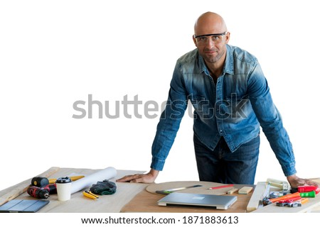 Contractor With Tool Belt and Hard Hat In Front of Wood Framing  Stock photo © feverpitch
