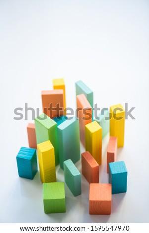 Blauw oranje groene houten bakstenen Stockfoto © pressmaster