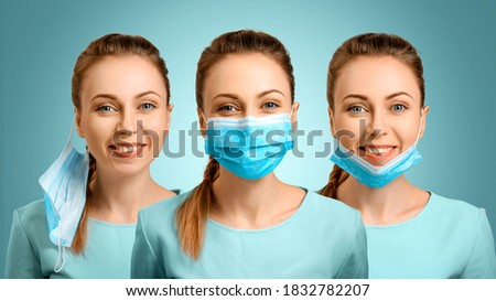 Coronavirus poster 2019-nCov with a young girl wearing a medical mask. Virus outbreak background. Fl Stock photo © BlueLela