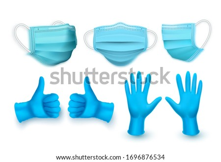 Realistic blue medical face mask and medical latex gloves. Vector illustration Stock photo © olehsvetiukha