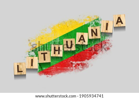 The national flag of the Lithuania and the inscription I love Lithuania. Vector illustration Stock photo © butenkow
