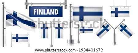 Vector ingesteld vlag Finland creatieve Stockfoto © butenkow