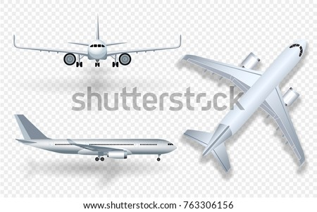 Airplane on white background. Airliner in side view. Vector realistic aircraft cargo. Passenger plan Stock photo © designer_things