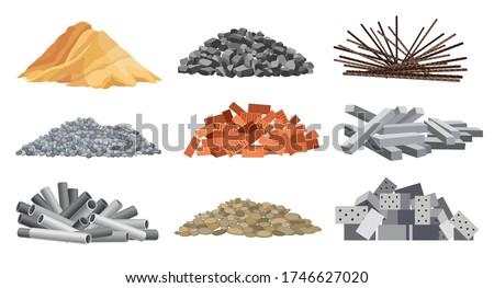 Szett épület anyag téglák homok sóder Stock fotó © designer_things