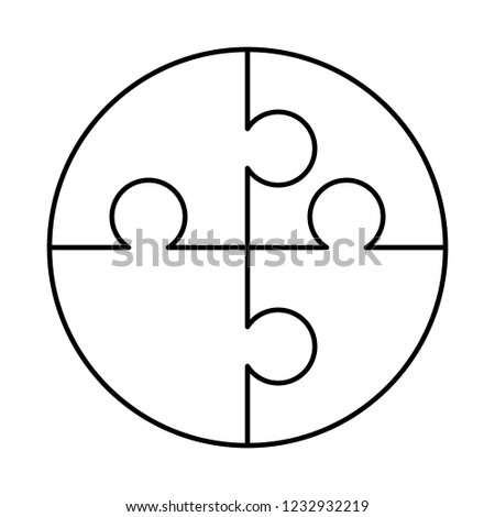 4 white puzzles pieces arranged in a round shape. Jigsaw Puzzle template ready for print. Cutting gu Stock photo © evgeny89