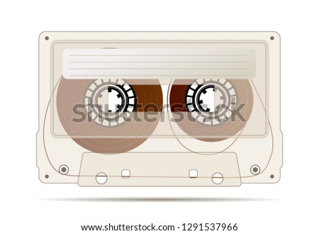 Realistic detailed audio cassette made from transparent brown plastic with magnetic tape, vintage ob Stock photo © evgeny89