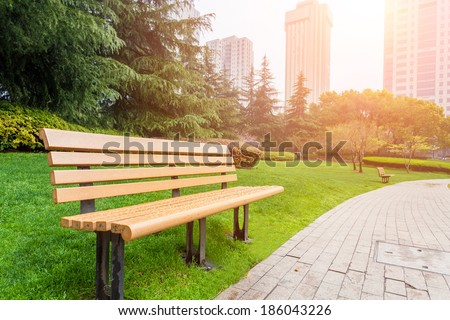 Urban park with benches and city skyline on the background, wide bright flat concept illustration Stock photo © evgeny89