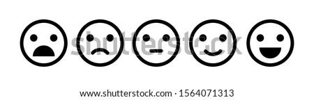 Mosolygós arc emotikon gyakoriság elégedettség szint egyszerű Stock fotó © evgeny89