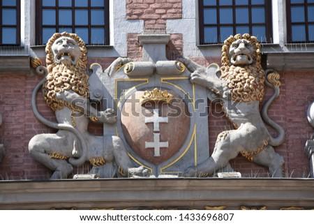 Detail geschichtlich Gebäude Altstadt Danzig Polen Stock foto © Anneleven