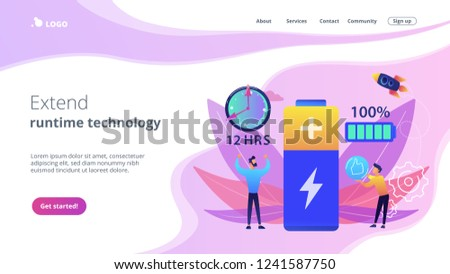 Battery runtime concept landing page. Stock photo © RAStudio