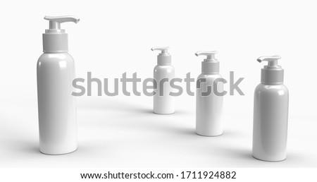 Blank label bottle of antibacterial liquid soap and hand sanitizer mockup on blue silk, hygiene prod Stock photo © Anneleven