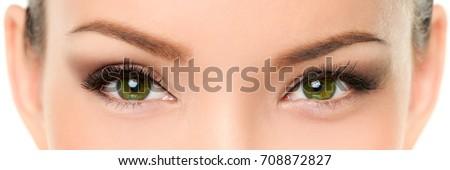 Gli occhi verdi asian donna ciglia trucco banner Foto d'archivio © Maridav
