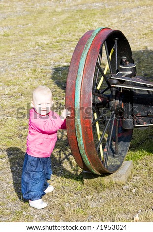 little girl standing at wheel mount washington cog railway bre stock photo © phbcz