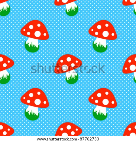 green polka dot pattern with red toadstool mushroom and heart seamless stock photo © adrian_n