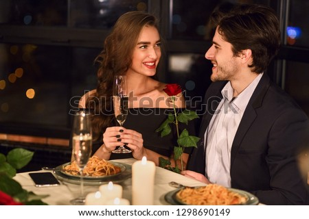 Young beautiful lady drinking champagne on valentine day cute re stock photo © HASLOO