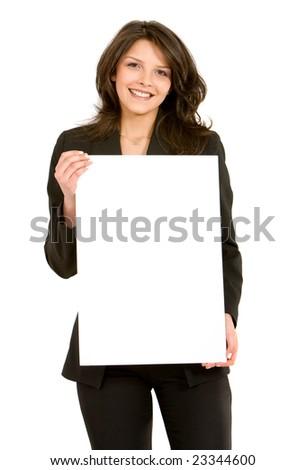 Сток-фото: баннер · изолированный · белый · женщину · бумаги
