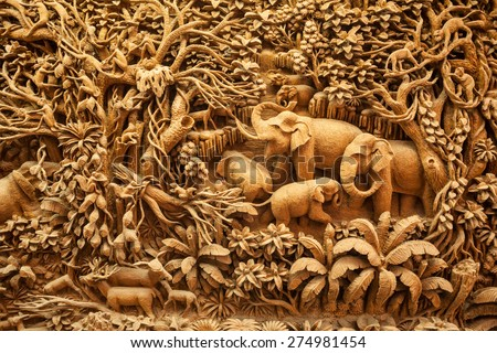 Thailand wood carving Stock photo © sumners
