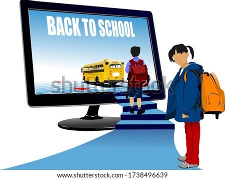 School boy and school girl  upstairs to school bus. Back to scho Stock photo © leonido