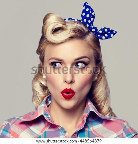 W stylu retro emocje pin w górę moda dziewczyna Zdjęcia stock © gromovataya