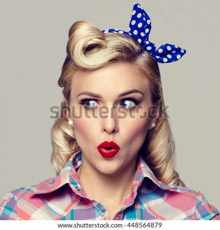 Retro-stijl emoties pin omhoog mode meisje Stockfoto © gromovataya