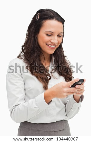 közelkép · aranyos · üzletasszony · küldés · szöveg · fehér - stock fotó © wavebreak_media