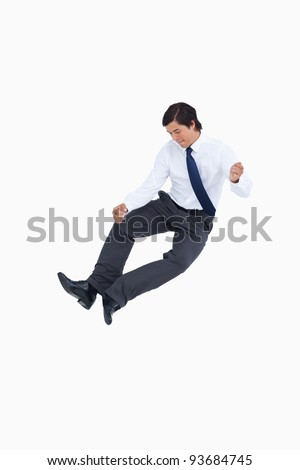 Successful tradesman clicking his heels against a white background Stock photo © wavebreak_media
