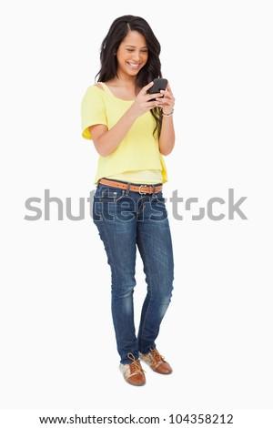 美しい 笑い スマートフォン 白 幸せ 立って ストックフォト © wavebreak_media