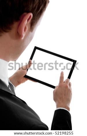 Imprenditore touchpad pc uno dito Foto d'archivio © dacasdo