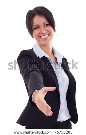 retrato · mujer · de · negocios · ofrecimiento · apretón · de · manos · blanco · trabajo - foto stock © HASLOO