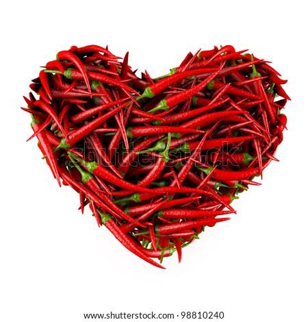 Kalp şekli kırmızı sıcak yalıtılmış beyaz Stok fotoğraf © snyfer