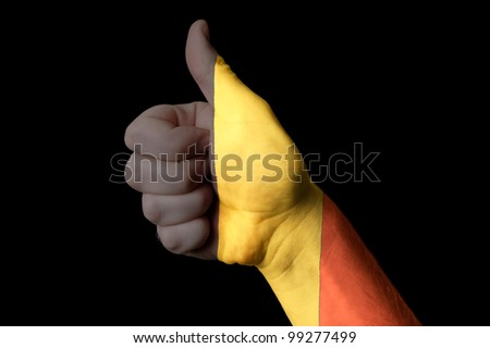 belgium national flag thumb up gesture for excellence and achiev Stock photo © vepar5