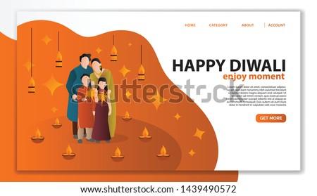 Site modelo belo feliz diwali colorido Foto stock © bharat