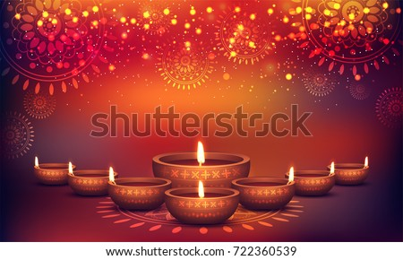 Happy Diwali festival celebration colorful Illuminated oil lit l Stock photo © bharat