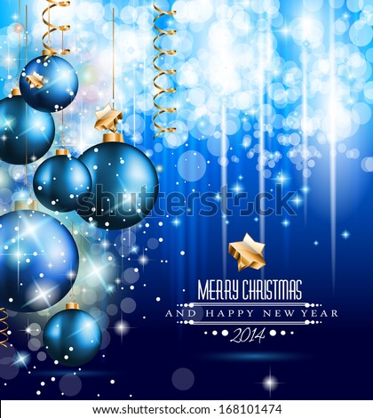 2014 Christmas Colorful Background with a waterfall of ray lights and a lot of baubles and stars. Stock photo © DavidArts