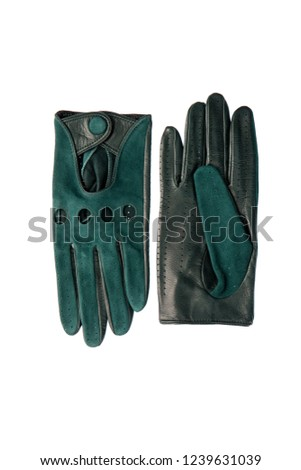 Beautiful blue suede (leather) women's gloves and color neckerch Stock photo © tetkoren