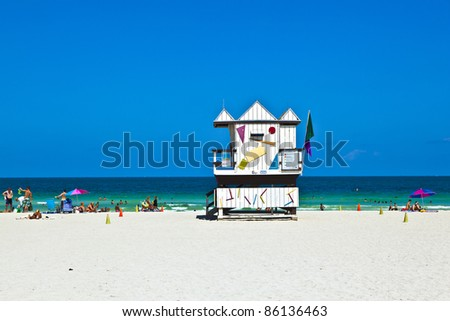 beautiful white beach and wooden hut at the beach in  Miami, Flo Stock photo © meinzahn