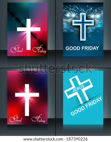 Good Friday brochure template collection card for Jesus cross co Stock photo © bharat
