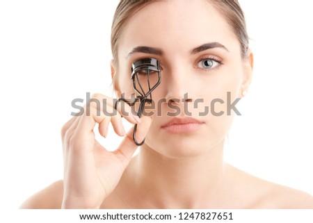 szempilla · kép · csinos · női · néz · tükör - stock fotó © nejron